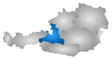 Map of Austria with the provinces, filled with a radial gradient, Salzburg is highlighted.