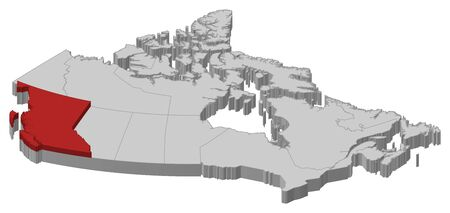 british columbia: Map of Canada as a gray piece., British Columbia is highlighted in red.
