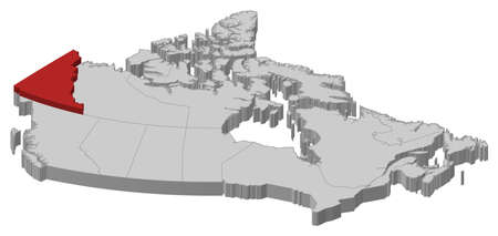 yukon: Map of Canada as a gray piece., Yukon is highlighted in red.