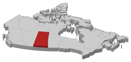 province: Map of Canada as a gray piece., Saskatchewan is highlighted in red.