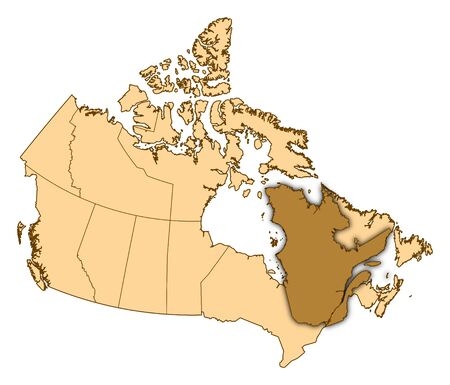 Map of Canada with the provinces, Quebec is highlighted. Stock Photo