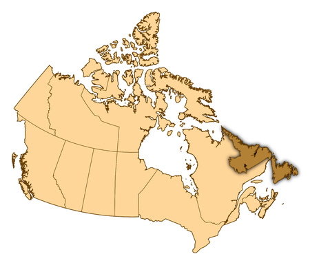 black and white newfoundland dog: Map of Canada with the provinces, Newfoundland and Labrador is highlighted. Stock Photo