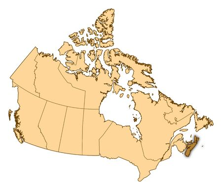 Map of Canada with the provinces, Nova Scotia is highlighted. Stock Photo