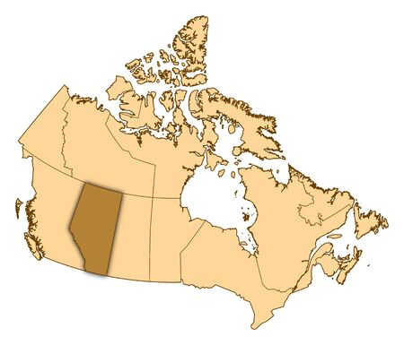 Map of Canada with the provinces, Alberta is highlighted.