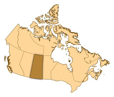 Map of Canada with the provinces, Saskatchewan is highlighted.