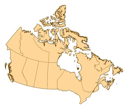 Map of Canada with the provinces, Prince Edward Island is highlighted. Stock Photo