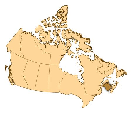 Map of Canada with the provinces, New Brunswick is highlighted.