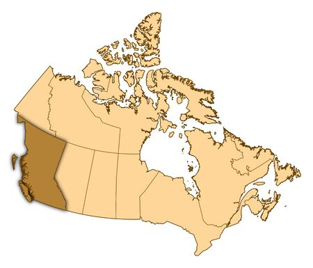 british columbia: Map of Canada with the provinces, British Columbia is highlighted. Stock Photo