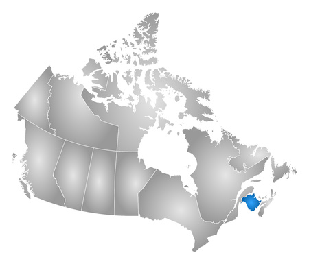 nb: Map of Canada with the provinces, filled with a radial gradient, New Brunswick is highlighted.