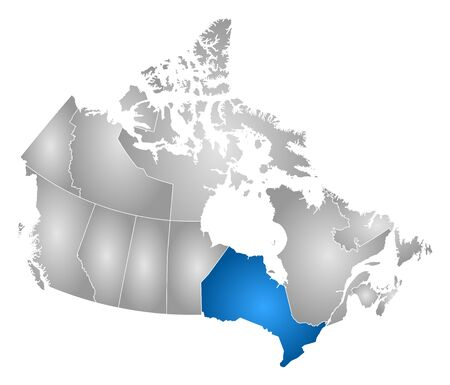 ontario: Map of Canada with the provinces, filled with a radial gradient, Ontario is highlighted.