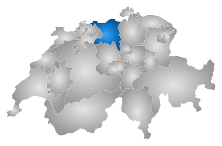 aargau: Map of Swizerland with the provinces, filled with a radial gradient, Aargau is highlighted.