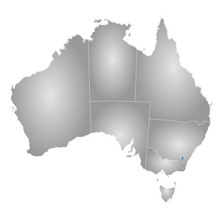 tone shading: Map of Australia with the provinces, filled with a radial gradient, Capital Territory is highlighted.