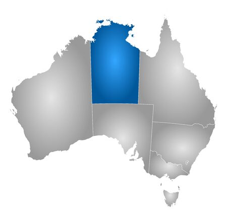 tone shading: Map of Australia with the provinces, filled with a radial gradient, Northern Territory is highlighted.