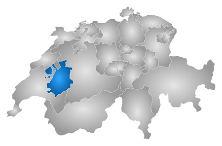 Map of Swizerland with the provinces, filled with a radial gradient, Fribourg is highlighted.