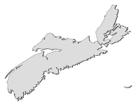 Map of Nova Scotia, a province of Canada.