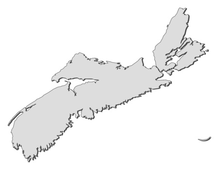 Map of Nova Scotia, a province of Canada.