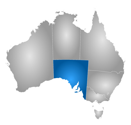 tone shading: Map of Australia with the provinces, filled with a radial gradient, South Australia is highlighted.