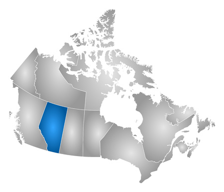 alberta: Map of Canada with the provinces, filled with a radial gradient, Alberta is highlighted. Illustration
