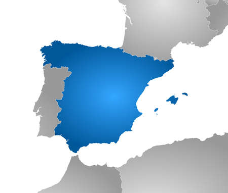 tone shading: Map of Spain with the provinces and nearby countries, filled with a radial gradient.