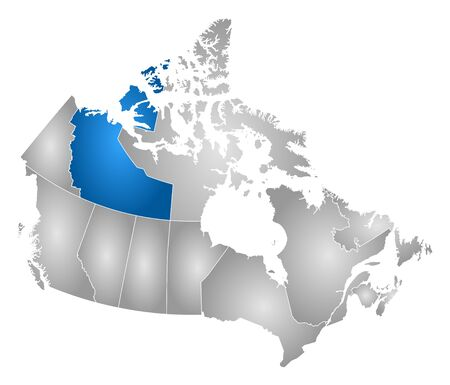 northwest: Map of Canada with the provinces, filled with a radial gradient, Northwest Territories is highlighted. Illustration