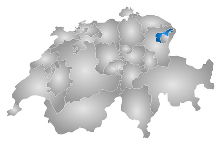 tone shading: Map of Swizerland with the provinces, filled with a radial gradient, Appenzell Ausserrhoden is highlighted.