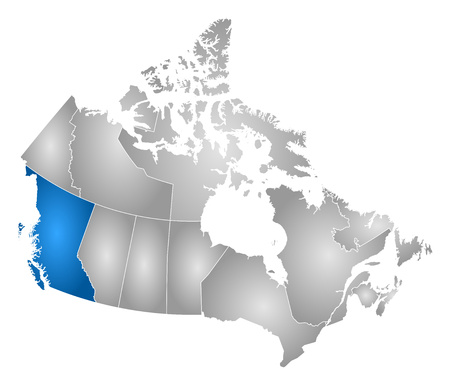 british columbia: Map of Canada with the provinces, filled with a radial gradient, British Columbia is highlighted.