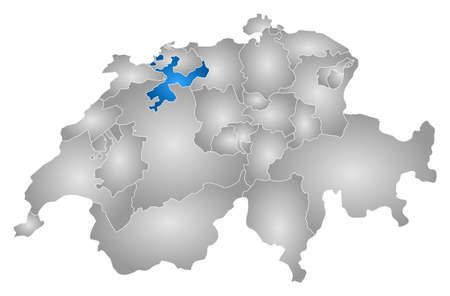 frontiers: Map of Swizerland with the provinces, filled with a radial gradient, Soleure is highlighted.