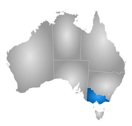 subdivisions: Map of Australia with the provinces, filled with a radial gradient, Victoria is highlighted.