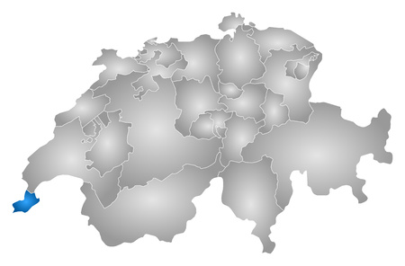 tone shading: Map of Swizerland with the provinces, filled with a radial gradient, Geneva is highlighted.