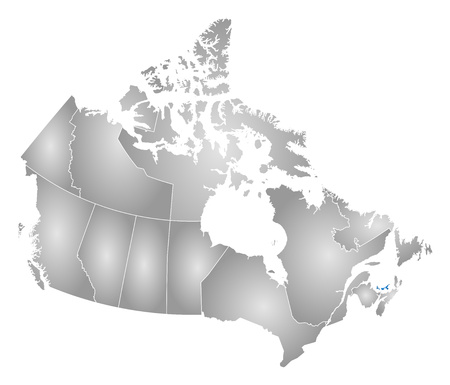edward: Map of Canada with the provinces, filled with a radial gradient, Prince Edward Island is highlighted. Illustration