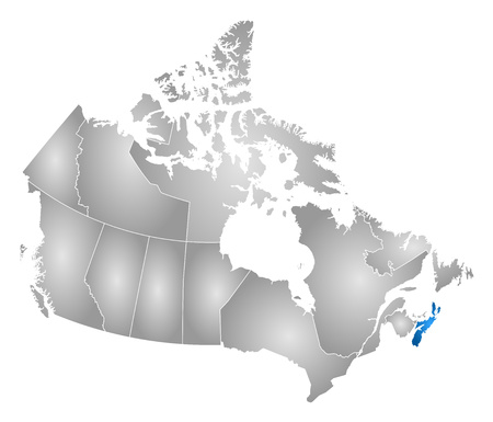 nova scotia: Map of Canada with the provinces, filled with a radial gradient, Nova Scotia is highlighted. Illustration
