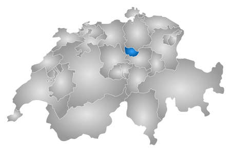 Map of Swizerland with the provinces, filled with a radial gradient, Zug is highlighted.