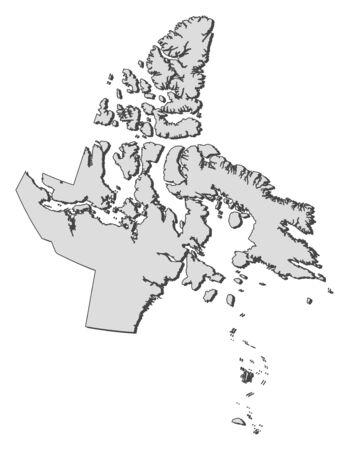 province: Map of Nunavut, a province of Canada. Illustration