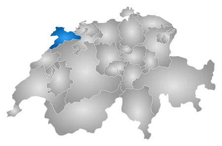 jura: Map of Swizerland with the provinces, filled with a radial gradient, Jura is highlighted.