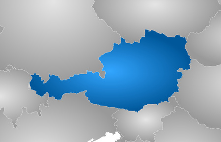tone shading: Map of Austria with the provinces and nearby countries, filled with a radial gradient.