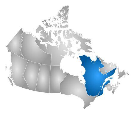 Carte du Canada avec les provinces, rempli d'un dégradé radial, Québec est mis en évidence.