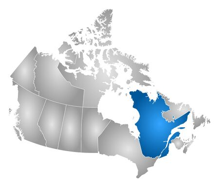 quebec: Map of Canada with the provinces, filled with a radial gradient, Quebec is highlighted.