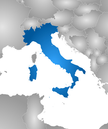 Map of Italy with the provinces and nearby countries, filled with a radial gradient.