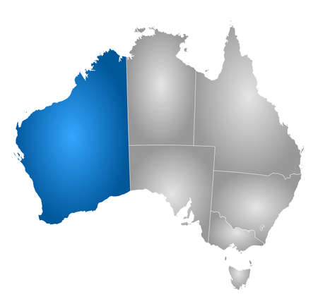 western australia: Map of Australia with the provinces, filled with a radial gradient, Western Australia is highlighted.