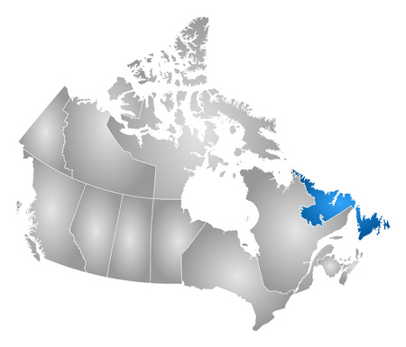 newfoundland: Map of Canada with the provinces, filled with a radial gradient, Newfoundland and Labrador is highlighted.