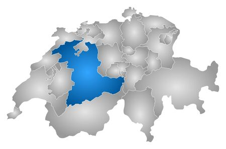 Map of Swizerland with the provinces, filled with a radial gradient, Bern is highlighted.