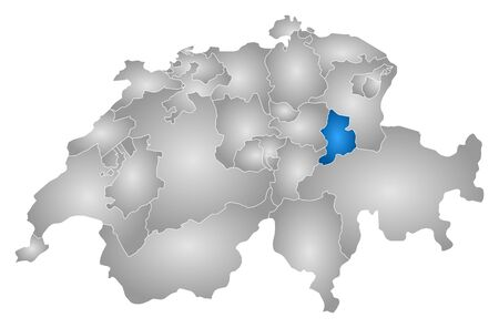 Map of Swizerland with the provinces, filled with a radial gradient, Glarus is highlighted.