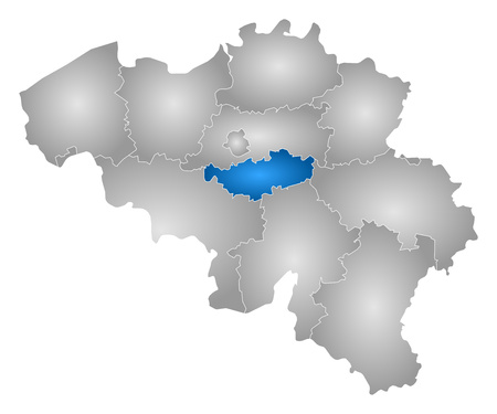 walloon: Map of Belgium with the provinces, filled with a radial gradient, Walloon Brabant is highlighted.