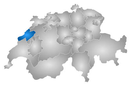 tone shading: Map of Swizerland with the provinces, filled with a radial gradient, Neuchatel is highlighted.