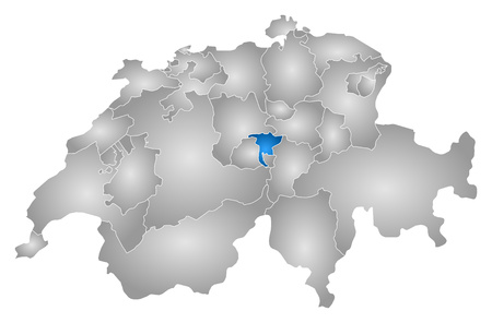 Map of Swizerland with the provinces, filled with a radial gradient, Nidwalden is highlighted.