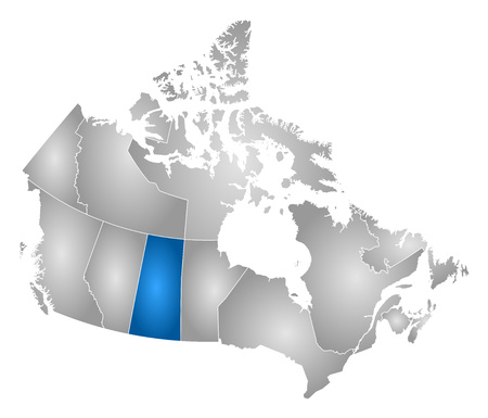 Map of Canada with the provinces, filled with a radial gradient, Saskatchewan is highlighted. Illustration