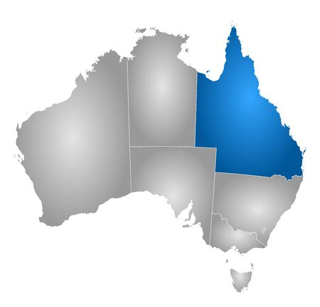 queensland: Map of Australia with the provinces, filled with a radial gradient, Queensland is highlighted. Illustration