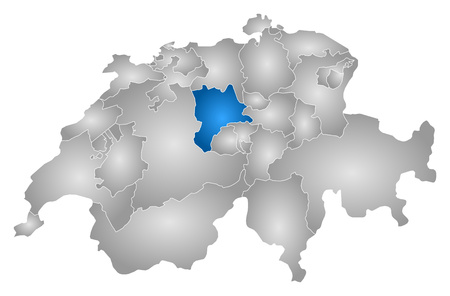 Map of Swizerland with the provinces, filled with a radial gradient, Lucerne is highlighted.