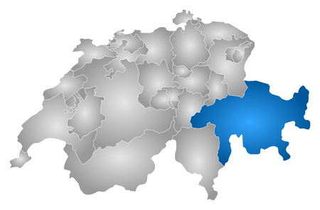 Map of Swizerland with the provinces, filled with a radial gradient, Graubunden is highlighted. Illustration