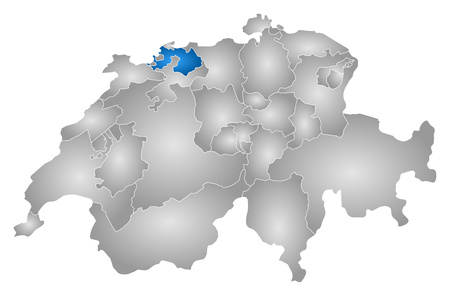 Map of Swizerland with the provinces, filled with a radial gradient, Basel-Landschaft is highlighted.
